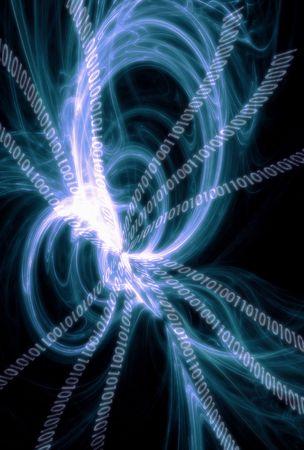 technolgy: Technolgy Background: Swirl Binary code Stock Photo