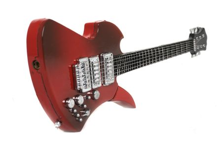 strat: Isolated red electric guitar over white background Stock Photo