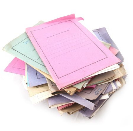 Isolated stack of folders with shot over white background Stock Photo - 3407909