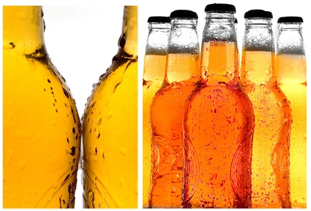 Various close-up shots of cold beer isolated on white photo