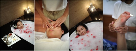 Various photos of woman at luxurious spa photo