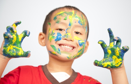 Preschooler playing with paint Stock Photo - 9945113