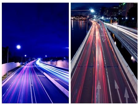 Brisbane busy city road at night photo