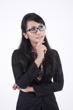 Asian Business woman with arms folded isolated on white background  photo