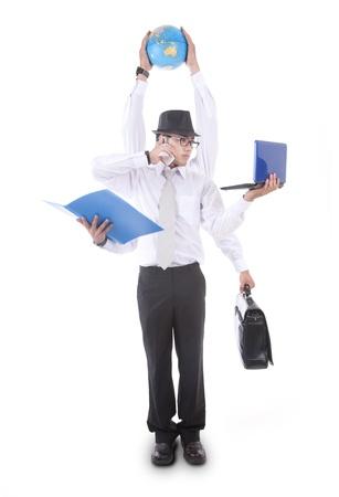 アジア系のビジネスマンは彼の六つの腕で忙しい。白い背景の上のスタジオで撮影します。