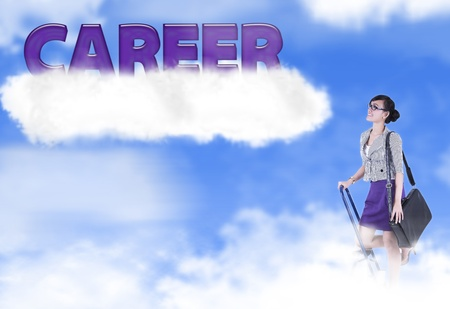 Asian woman climbs a ladder looking at a bright future  photo
