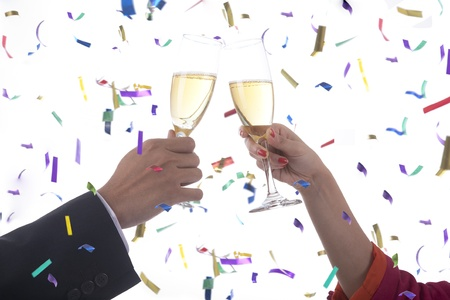 turns of the year: Business people cheering celebrating new year
