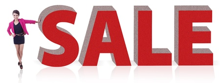 Happy asian woman with huge sale sign on white background Stock Photo - 14684493