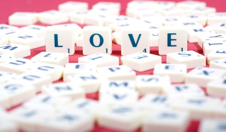 Valentine Photo Concept: Close up shot of love made of scrabble photo