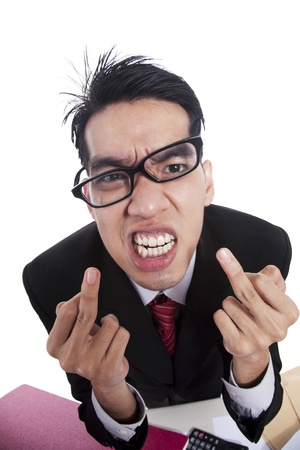 Rude and Angry businessman giving the finger photo