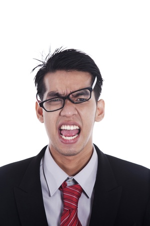 Messy businessman screaming expressing his anger photo