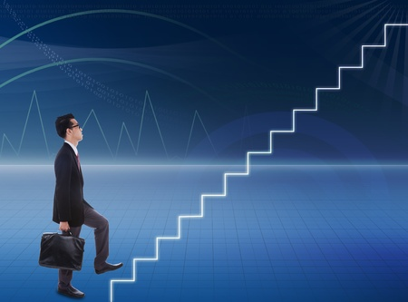 Businessman stepping up a stairway  to success in a 3d environment photo