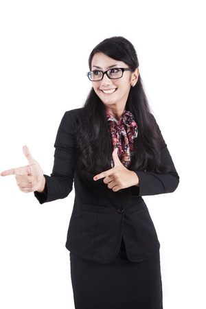 Happy asian businesswoman hands gesture photo