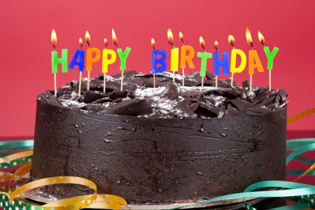 fancy cake: A birthday cake with candles Stock Photo