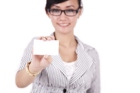 Asian businesswoman showing blank businesscard photo