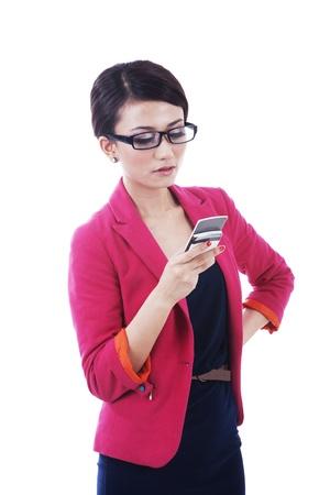 Isolated businesswoman using phone on white background photo