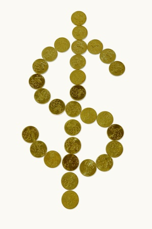 Dollar sign made of golden coins Stock Photo - 12150092