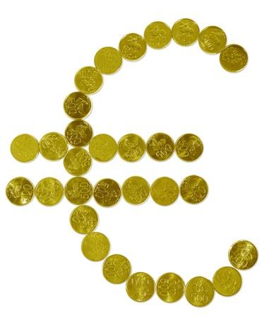 Euro sign made of golden coins photo
