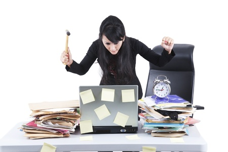 stressed business woman: Frustrated businesswoman with her jobs