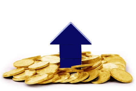A blue house with pile of golden coins on white background photo