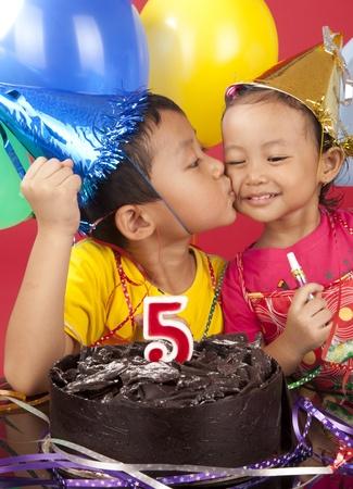 Asian sibling celebrating birthday Stock Photo - 12150267
