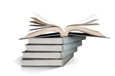 freshmen: Stack of books over white