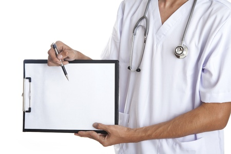 Doctor pointing to a blank note use a pen photo