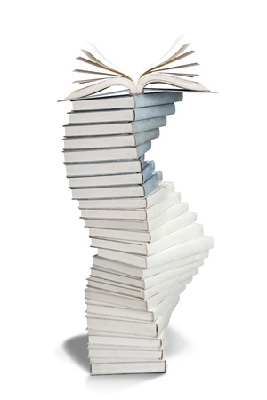 freshmen: Pile Of Books - hand made clipping path included Stock Photo
