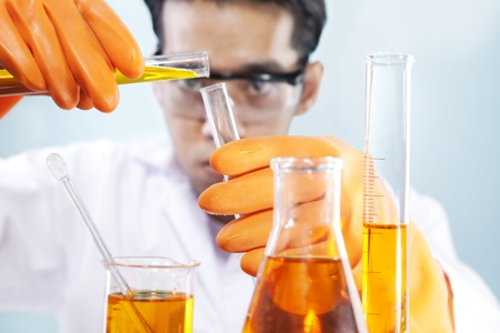 pharmaceutical: A scientist is doing his chemical lab research Stock Photo