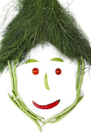 unusual vegetables: Face made of vegetables, shot in studio isolated on white background