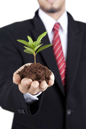 Business growth - Closeup of businessmans hand holding green plant photo