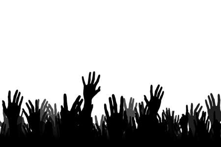 Hands up silhouettes of cheering crowd, fans at a concert photo