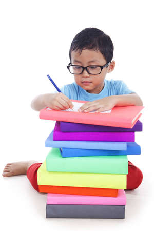 The schoolboy does his homework Stock Photo - 14684466