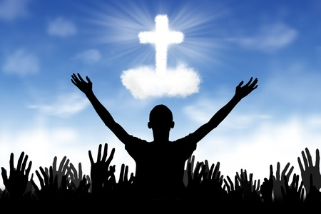 alabando a dios: Silueta de personas que adoran al Dios