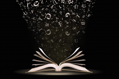 dictionaries: An open book with letters falling into the pages