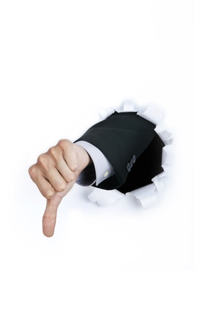 disapprove: Businessmans hand thumbs down against white background Stock Photo