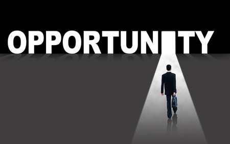 financial executive: Businessman walks toward an opportunity door