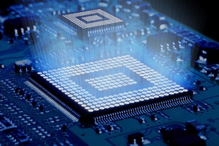 processors: Processor and motherboard, circuit of high technology. Stock Photo