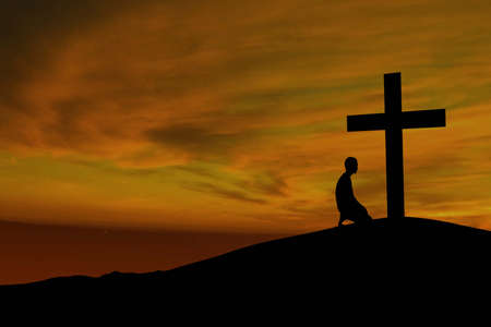 Dramatic sky scenery with a mountain cross and a worshiper photo