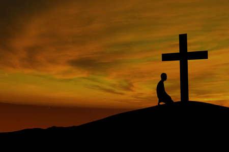 arrodillarse: Paisajes cielo dramático con una cruz de la montaña y un adorador