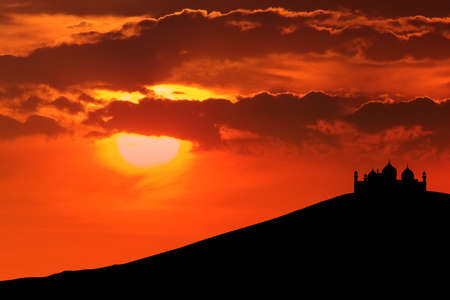 islamic scenery: Beautiful silhouette of mosque can be used as islamic wallpaper