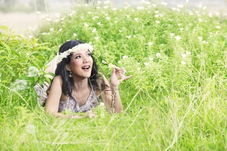 Beautiful Asian Woman plays with bubble outdoor Stock Photo - 14683051
