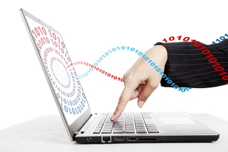 Businesswoman hand pressing button on the laptop with binary stream Stock Photo - 14659494