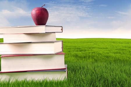 Stack of books in grass for summer reading with red delicious apple on top photo