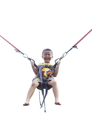trampoline: Child jumping on the trampoline (bungee jumping)