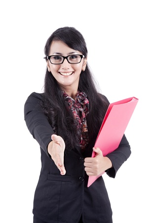chinese people: A successful business woman stretches out her hand to shake hands with someone Stock Photo