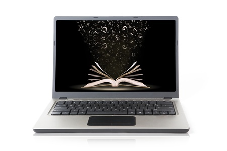 electronic book: Laptop with books and fallen letters wallpaper isolated on white Stock Photo