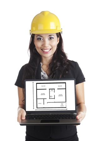 An engineer woman presenting house design on laptop computer photo