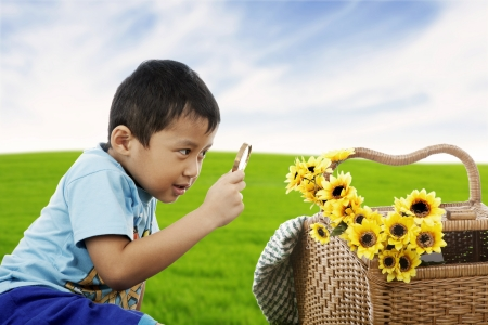 Little boy playing on green meadow examining field flowers using magnifying glass  photo