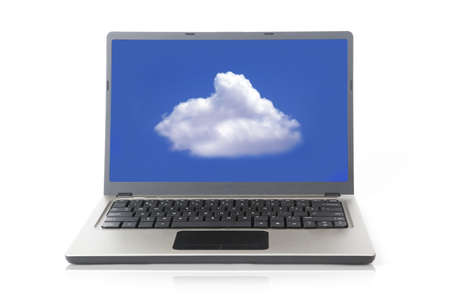 Laptop computer with cloud on the blue screen Stock Photo - 14683870